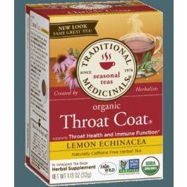 Traditional Medicinals Organic Throat Coat Lemon Echinacea (1 Box of 16 Packets)