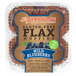 Flax4Life Wild Blueberry Flax Muffins (Pkg of 4)