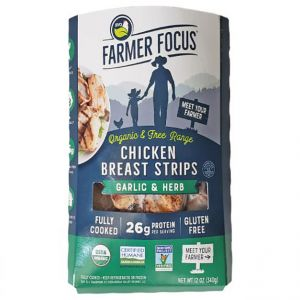 Farmer Focus Cooked Organic Garlic & Herb Chicken Breast Strips 12oz