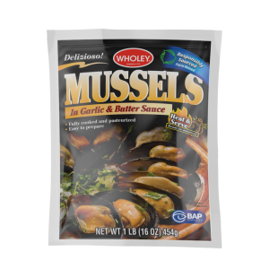 Wholey Mussels in Garlic & Butter Sauce