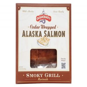 Ocean Beauty Cedar Wrapped Wild Alaska Salmon in Smoky Grill Marinade 10oz Fillet