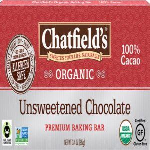 Chatfield's Organic Unsweetened Chocolate 1 Bar