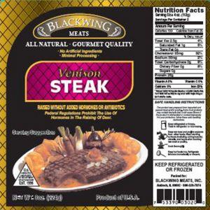 Venison Steak 20/8oz.
