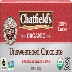 Chatfield's Organic Unsweetened Chocolate 1 Bar