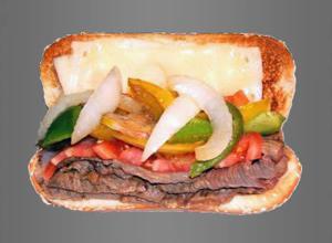 Bison Philly Cheese Steak Sandwich