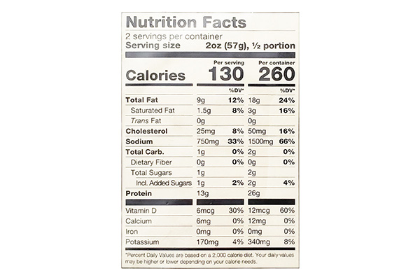 ECHO FALLS HOT SMOKED COHO SALMON CAJUN SPICE Nutritional Information